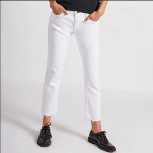 CURRENT/ELLIOT The Cropped Straight  White Jeans